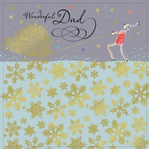 Dad Christmas Card with Gold Foiling, Contemporary Design and Red Envelope KIS17